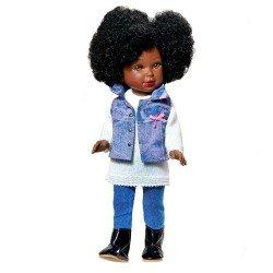 Muñeca Vestida de Azul 33 cm - Paulina negra con conjunto vaquero