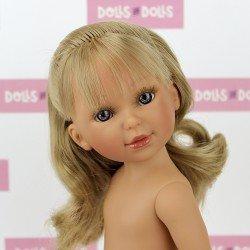 Muñeca Vestida de Azul 33 cm - Paulina rubia con flequillo, pelo ondulado y coleta sin ropa