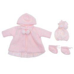 Ropa para Muñecas Así 46 cm - Vestido de punto rosa con trenca, gorro y peúcos para muñeca Leo