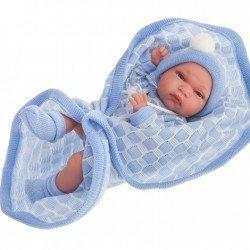 Muñeco Antonio Juan 33 cm - Baby Tonet toquilla azul niño