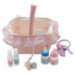 Complementos para muñecas Antonio Juan - Canastilla rosa para muñecos 40-42 cm
