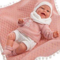Muñeca Antonio Juan 34 cm - Clara con manta de bolitas rosa