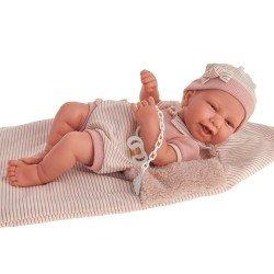Muñeca Antonio Juan 42 cm - Recién nacida Carla con saquito de rayas