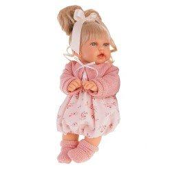 Muñeca Antonio Juan 27 cm - Petit rubia con coleta y vestido estampado rosa