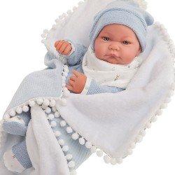 Muñeco Antonio Juan 42 cm - Recién nacido Nico con manta de bolitas