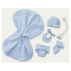 Complementos para muñecas Antonio Juan - Set azul con toquilla, braguita, peúcos, pechito, gorro y chupete 40-42 cm