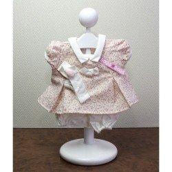 Ropa para muñecas Antonio Juan - Vestido rosa con pequeñas florecitas con diadema 40-42 cm