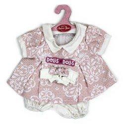 Ropa para muñecos Antonio Juan 40-42 cm - Vestido rosa estampado con diadema