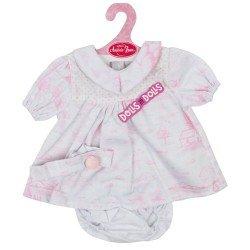 Ropa para muñecos Antonio Juan 40-42 cm - Vestido blanco y rosa estampado con diadema