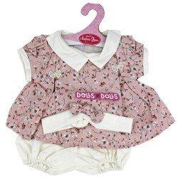 Ropa para muñecos Antonio Juan 40-42 cm - Vestido rosa de estampado floral con diadema