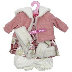 Ropa para muñecos Antonio Juan 33-34 cm - Conjunto estampado de flores con chaqueta rosa y diadema