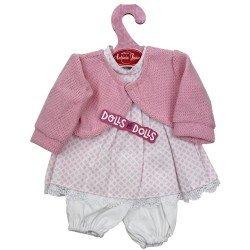 Ropa para muñecos Antonio Juan 33-34 cm - Conjunto estampado de cuadros rosa con chaqueta y pantalón
