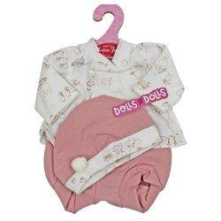 Ropa para muñecos Antonio Juan 33-34 cm - Conjunto estampado de conejitos rosa con gorro
