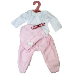 Ropa para muñecos Antonio Juan 33-34 cm - Pijama rosa y blanco con gorro