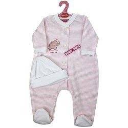 Ropa para muñecos Antonio Juan 52 cm - Colección Mi Primer Reborn - Pijama rayas rosa con gorro