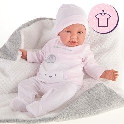 Ropa para muñecos Antonio Juan 52 cm - Colección Mi Primer Reborn - Pijama pingüino rayas rosa con gorro