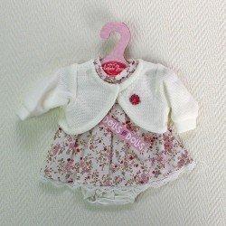 Ropa para muñecas Antonio Juan 33-34 cm- Vestido blanco de flores tonos vino con chaqueta