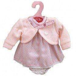 Ropa para muñecas Antonio Juan 33-34 cm - Vestido estampado panal con chaqueta rosa palo