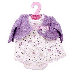 Ropa para muñecos Antonio Juan 33-34 cm - Conjunto estampado pajaritos con chaqueta lila