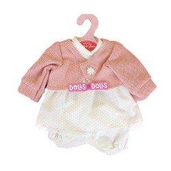 Ropa para muñecos Antonio Juan 33-34 cm - Conjunto estampado de puntos rosa con chaqueta rosa