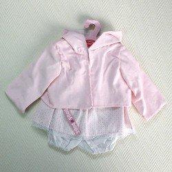 Ropa para muñecas Antonio Juan - Vestido hexágonos rosas con chaqueta rosa con capucha 40-42 cm