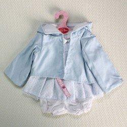 Ropa para muñecas Antonio Juan - Vestido hexágonos azules con chaqueta azul con capucha 40-42 cm