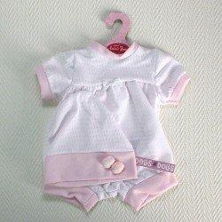 Ropa para muñecas Antonio Juan - Pelele con gorro blanco y rosa moteado 40-42 cm