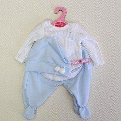 Ropa para muñecos Antonio Juan - Body manga larga polainas y gorro azul-blanco 40-42 cm