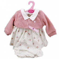 Ropa para muñecos Antonio Juan 40-42 cm - Vestido estampado pajaritos rosa con chaqueta rosa palo
