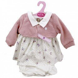 Ropa para muñecos Antonio Juan 40-42 cm - Vestido estampado pajaritos morado con chaqueta rosa palo