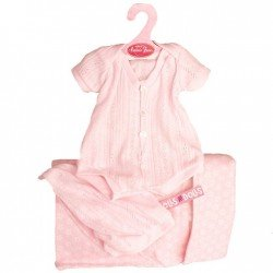 Ropa para muñecos Antonio Juan 40-42 cm - Pelele rosa con gorro y saco de estrellas
