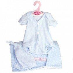 Ropa para muñecos Antonio Juan 40-42 cm - Pelele y gorro azules con saco de estrellas
