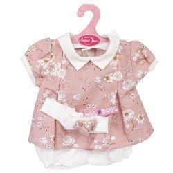 Ropa para muñecos Antonio Juan 40-42 cm - Vestido estampado de flores rosa palo con diadema