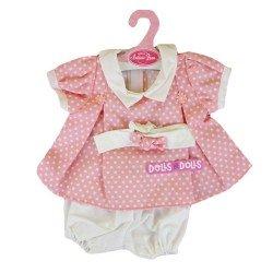 Ropa para muñecos Antonio Juan 40-42 cm - Conjunto estampado rosa de puntos con diadema