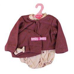 Ropa para muñecos Antonio Juan 40-42 cm - Conjunto rosa estampado de estrellas con chaqueta y gorro burdeos
