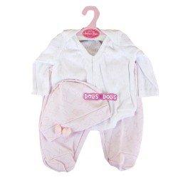 Ropa para muñecos Antonio Juan 40-42 cm - Pijama rosa y blanco con gorro