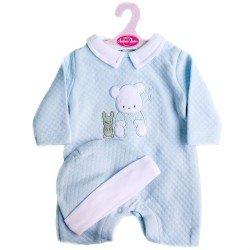 Ropa para muñecos Antonio Juan 40 - 42 cm - Colección Sweet Reborn - Pijama azul de osito con gorro