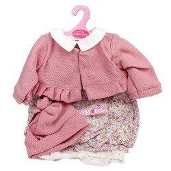 Ropa para muñecos Antonio Juan 55 cm - Conjunto estampado de flores con chaqueta rosa y gorro