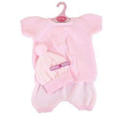 Ropa para muñecos Antonio Juan 52 cm - Colección Mi Primer Reborn - Pijama de punto rosa con gorro