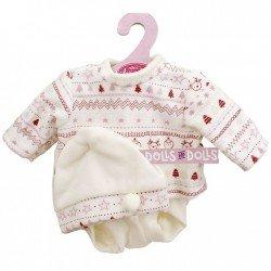 Ropa para muñecas Antonio Juan 33-34 cm - Conjunto estampado invierno rosa con gorro