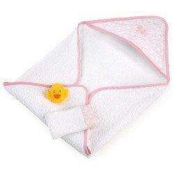 Complementos muñecas Así 36 a 43 cm - Capa de baño rosa con accesorios