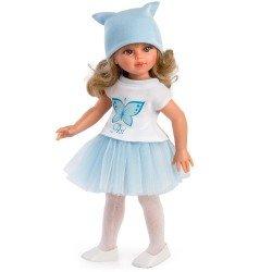 Muñeca Así 40 cm - Sabrina con falda de tul azul y camiseta con mariposa