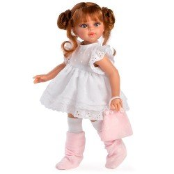 Muñeca Así 40 cm - Sabrina pelirroja con vestido blanco