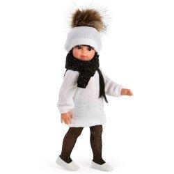 Muñeca Así 40 cm - Sabrina con vestido y gorro de punto blanco