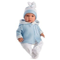 Muñeco Así 46 cm - Leo con trenca azul celeste y polaina blanca