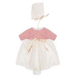 Ropa para Muñecas Así 28 cm - Vestido con faldón de plumeti beige y punto rosa con gorro para muñeca Gordi