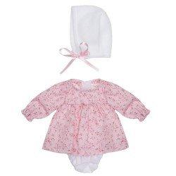 Ropa para Muñecas Así 28 cm - Vestido de flores rosa con capota blanca para muñeca Gordi