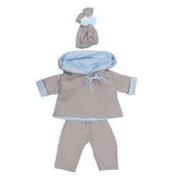 Ropa para Muñecos Así 46 cm - Conjunto chaquetón reversible celeste-gris para muñeco Leo