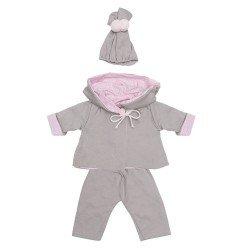 Ropa para Muñecas Así 46 cm - Conjunto chaquetón reversible rosa-gris para muñeco Leo