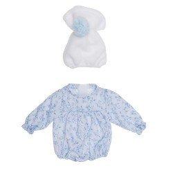 Ropa para Muñecas Así 28 cm - Ranita de flores azul con gorro blanco para muñeca Gordi